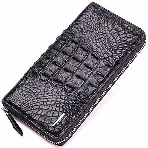 HOOM-Sac à main en cuir sacs mode sacs à main, porte-monnaie zip autour de la tête noire Black back