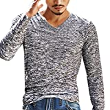 Herren Hemd T-Shirt V Neck Langarm Top Slim Bluse Outwear Von Xinan (XXL, Grau)