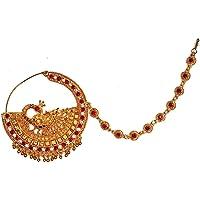 Mizaat4U Brown Brass Kumauni Nathiya for Uttarakhandi Women