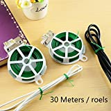 #6: Plastic Twist Tie Wire Spool with Cutter for Garden Yard Plant 2x30m 60m-Green by Pan Pacific.