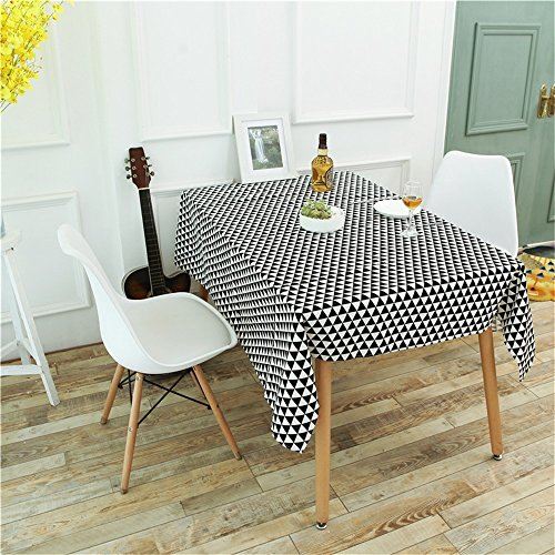 Ansenesna Tischdecke Weiss Schwarz Rechteckig Leinen Baumwolle Tischtuch Gartentischdecke Für Hochzeit Party Festlich (Schwarz, 140 x 200 cm) - Quadratische Tischdecke Leinen Weiße