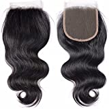 "Body Wave 4x4 Free Part Lace Closure With Baby Hair Top 8A Brazilian Virgin Human Hair Natural Black(10"")"