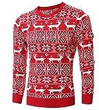 MISSMAO Herren Weihnachtspullover Langärmelige Pullover Tops mit Rentier-Muster für Weihnachten Rot L