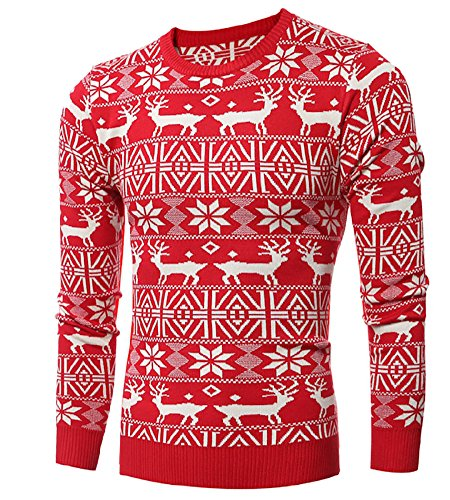 Partner Pullover Weihnachten.Herren Weihnachtspullover Langarmelige Pullover Tops Mit Rentier Muster Fur Weihnachten Rot M