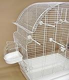 Vogelkäfig Donna weiß Wellensittichkäfig,Exotenkäfig,Vogelkäfig Vogelbauer Wellensittich Kanarien Voliere Vogelhaus Käfig incl. Badehaus und Trinkröhrchen -