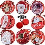 (D: 7cm) 8 Stück Weihnachten Kugel Geschenkbox Gastgeschenk Candy Box mit Reißverschluss Rot Weihnachtsdeko Weihnachtsbaum Deko Aufbewahrungsbox für Süßigkeiten Candy Kopfhörer Münzen Schlüssel