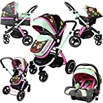 iSafe System - Owl & Button Trio Travel System Pram & Luxury Stroller 3 in 1 Complete with Car Seat
