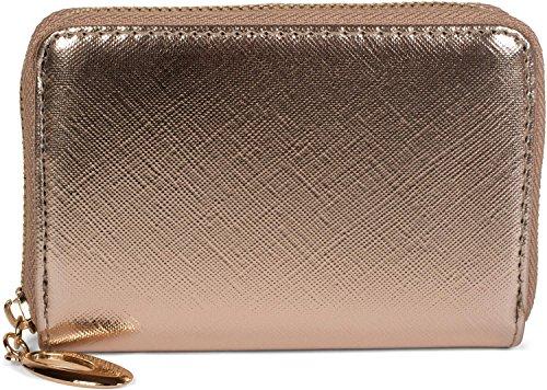 styleBREAKER kleine Geldbörse mit glänzender Oberfläche und Struktur Muster, Reißverschluss, Portemonnaie, Damen 02040103, Farbe:Rosegold (Synthetik-leder-clutch Geldbörse)