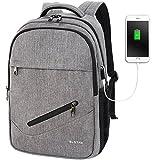 SLOTRA Schule Leicht Backpack 14 Zoll Laptopfach Abendschule Uni Business Slim Rucksack Mit USB Anschluss Outdoor Reise Travel Bag Hellgrau