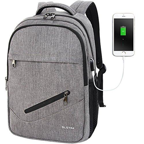 SLOTRA Zaino per PC Portatile 14 Pollici con USB Molte Tasche di Stoccaggio Zaino Scuola Universita Borse per Computer Portatile 23Litri (Grigio)