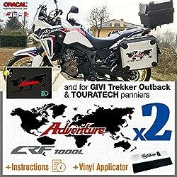Black Doves Graphics 2pcs Aufkleber kompatibel mit Honda CRF 1000 L Africa Twin 2016 Adventure VALIGIE LATERALI Motorcycle Original Panniers Touratech GIVI Trekker Outback 37L 48L (Black/Red)