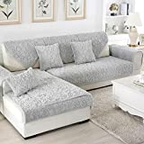 HUANZI Sofa Covers 1/2/3/4 Seater Plush solid color living room Slipcovers Protector Gray, 2