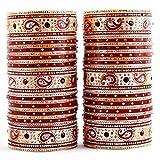 Lucky Jewellery Maroon Bridal Punjabi Choora, Wedding Chudas Set Size Of 2.8 For Women