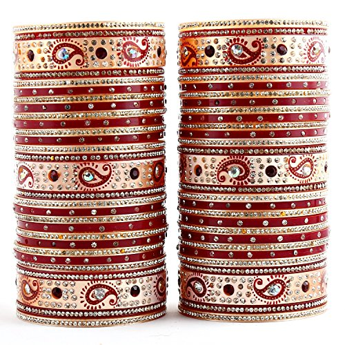 Lucky Jewellery Maroon Bridal Punjabi Choora, Wedding Chudas Set Size Of 2.8 For Women