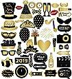 Losuya 2019 Neujahr Fotorequisiten Party Photo Booth Props 46 stücke Lustige DIY Kit Photobooth Requisiten für Silvester Party Dekoration Gunsten