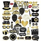 Losuya 2019 Fête du Nouvel an Accessoires de photomaton 46pcs Drôle DIY Kit Photobooth Accessoires pour Le Nouvel an Parti Décoration Faveur