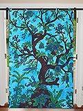 Türkise Baum des Lebens Einzelgardine Baumwolle Mandala Hippie Wand hängend Twin Größe 125 cm x 208 cm Zimmerdekoration Einzelvorhang-Set Boho Set Ethnic Window Treatments & Panels Set Bohemian Vorhangset
