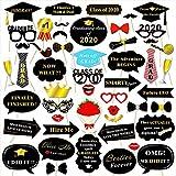 HOWAF 2020 graduación Cabina de Fotos Accesorios Photo Booth Atrezzo Favorecer Graduación Sombrero Gafas en Palos para Infantil Decoraciones de Fiesta de graduación universitaria (50Pcs)