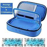 Insulin kühltasche Diabetiker Tasche Medikamenten Kühltasche für Diabetikerzubehör mit Kühlakkus (Blau)