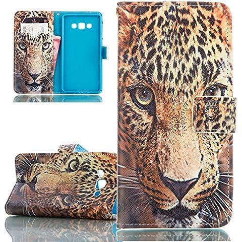 ISAKEN Samsung Galaxy A7(2015 versione) Custodia - Elegante borsa Custodia in Pelle Protettiva Flip Portafoglio (Leopard Elegante)