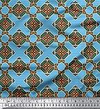Soimoi Blau Viskose Chiffon Stoff Streifen & Diamant
