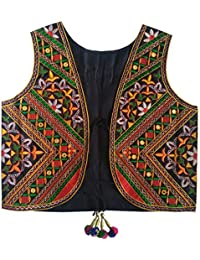 Trendish Women's Cotton Kutchi Multi Colored Embroidery Mirror Work Jacket (Black_Free Size)