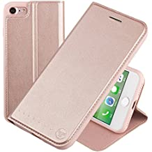 Nouske Funda tipo cartera para iPhone 7 iPhone 8 de 4,7 pulgadas de Apple, Oro rosa