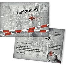 Einladungskarten Zum Geburtstag Krimi Gestalten   50 Stück   Kommissar  Detektiv   Lustige Geburtstagseinladungen   Witzige