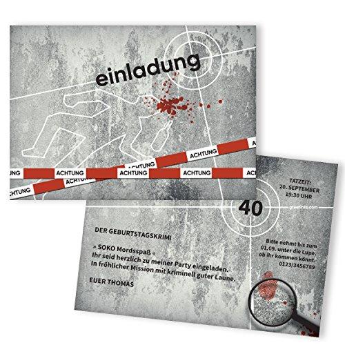 Einladungskarten zum Geburtstag Krimi gestalten | 25 Stück | Kommissar Detektiv | Lustige...