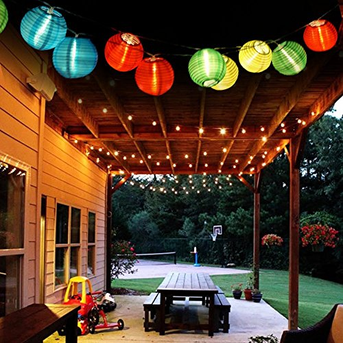 EleganBello Guirnalda Luces 2 LED Linterna 4,8M Coloreado Panel Solar Impermeables Ideal...
