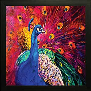 PRINTELLIGENT Peacock Wall Paintings and Bedroom with Frame Size 10 inch x 10 inch