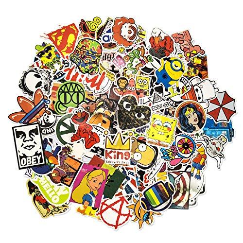 Auto-Dress 100 Aufkleber/Sticker - Retro-, Graffiti- Style, Reisen, Marken für Skateboard, Snowboard, Koffer, Notebook, Auto, Fahrrad & UVM (Set-6)