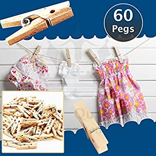 60 Wooden Mini Craft Photo Pegs Clips Natural Wood Strong Grip Decoration Clips