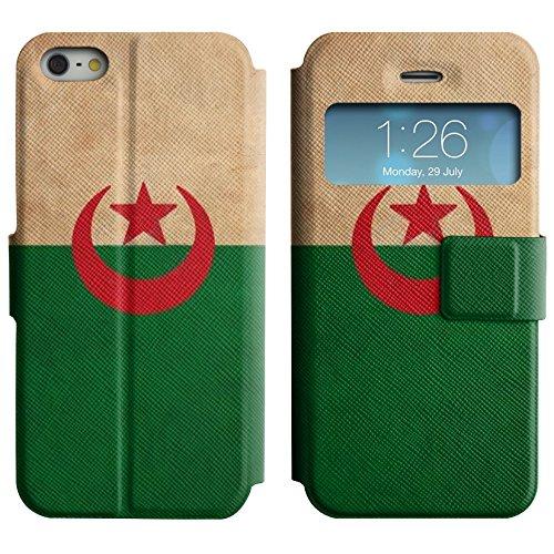 Graphic4You Vintage Uralt Flagge Von Iraker Irak Design Leder Schützende Display-Klappe Brieftasche Hülle Case Tasche Schutzhülle für Apple iPhone 5 und 5S Algerien Algerier