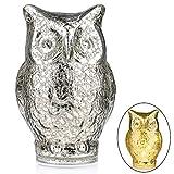 Owl Night Light ITART Mercury Glass Figurines Table Desk Lamp Warm White Bedside Lamp Christmas Decortation in Bedroom, Dining room