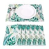WaaHome Platzsets und Untersetzer Sets von 6gewebtes Vinyl Esstisch Tisch-Sets für Zuhause, Küche, Vinyl, Monstera, 17.7