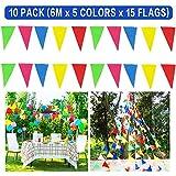 Bornfeel Coloridas Bandera Banderín Decoración 10 Paquetes Multicolor Banderín 15 Banderas Doble Cara Nylon para Casa Campo Boda Cumpleaños Gran Apertura de Fiesta al Aire Libre Jardín y Picnic Patio 6m 5 Colores