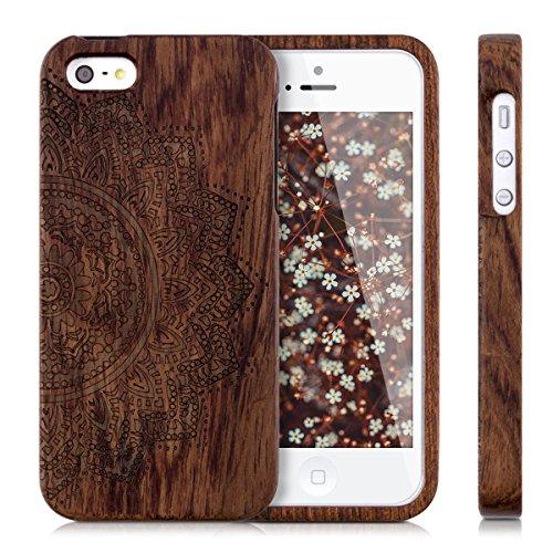 kwmobile Hülle für Apple iPhone SE / 5 / 5S - Rosenholz Case Handy Schutzhülle - Hardcase Cover Braun Halbblume Dunkelbraun