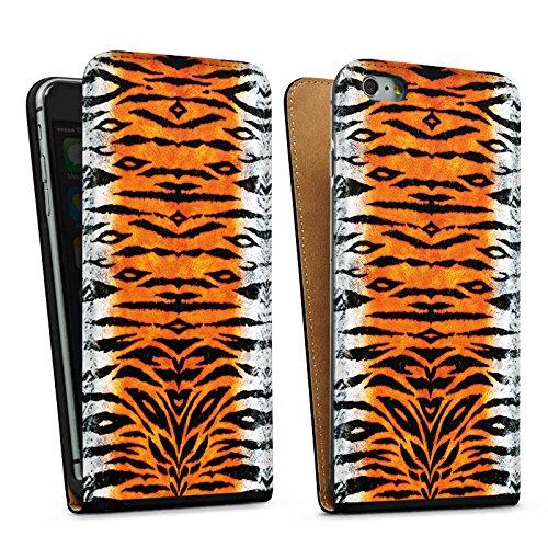 Apple iPhone 5s Housse Étui Protection Coque Tigre Fourrure Peau de tigre Sac Downflip noir