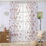 Sundlight Rose Flower Window Curtain Floral Tulle Voile Door/ Window/Room Curtain Drape