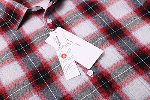 Coofandy Herren Langarm Kariert Hemd Baumwolle Bügelleicht Langarmshirt Freizeit Karo Hemd Button-down Regular Fit Rot