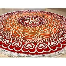 raajsee- indio Mandala redondo Roundie corazón rojo Ombre Print manta de playa tapiz Hippy Boho Gypsy algodón mantel estera de Yoga toalla de playa de Yoga y Meditación # rnd24
