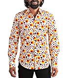 Chenaski 70er Jahre Punkte Hippie Hemd Dots orange XL