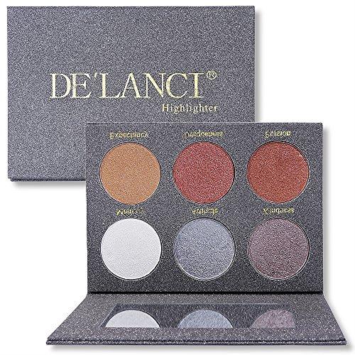 DE'LANCI Putty Highlighter Palette Makeup Kit - Langlebige Glitzer Hervorhebung Palette - Schimmer Textmarker Powder Make-up Kosmetik(6 Farben) -