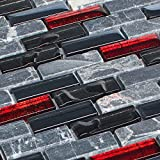 Glasmosaik Marmor Schwarz Rot Fliesen Mosaik 8 mm