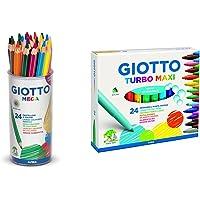Giotto Mega Barattolo 24 Pastelli Colorati & Turbo Maxi Pennarelli 24 Uds.