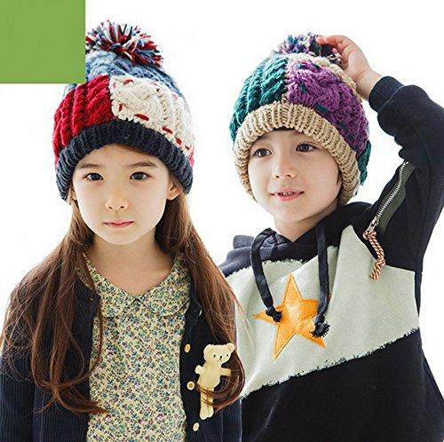 Smile YKK Bonnet Tricot Chapeau de Chaud en Hiver Pour Enfant Unisexe Kaki