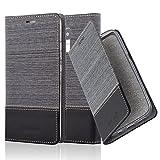 Cadorabo Hülle für Honor 5C - Hülle in GRAU SCHWARZ – Handyhülle mit Standfunktion und Kartenfach im Stoff Design - Case Cover Schutzhülle Etui Tasche Book