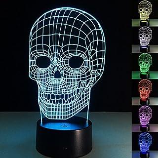 YiaMIa 3D USB Licht 7 Farben Wechsel Berührung Taste Creative Design Nachtlampe Amazing Illusion Dekoration Haushalt Lichter - Totenkopf, Touch version