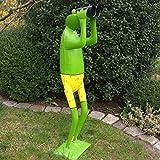 Große Garten Frosch Figur mit Fernglas. Höhe 1,30 Meter